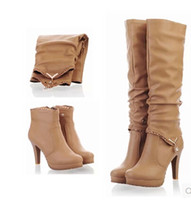 Wholesale Women Wearing Fur Heels - New Sexy Women Boots Fashion Jackboots high heel shoes Over Knee Boots A boots two wear Upper keep warm women shoes tall boot big size XZ53