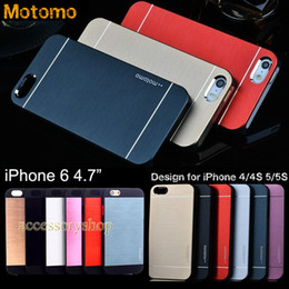 "Wholesale Brushed Aluminium Case Cover - For 4.7"" iPhone 6 Plus 4 4S 5 5S MOTOMO Metal & PC Case New Design Colorful Brushed Pattern Cover Slim Aluminium Alloy Back Shell 100pcs DHL"