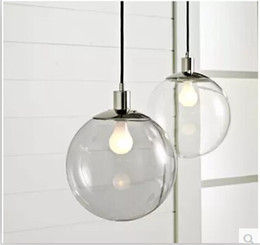 Wholesale Clear Glass Ball Pendant Lights - Fashion Lamp Scandinavian Minimalist Glass Ball Pendant Light American Village Restaurant Lighting Clear Glass Ball Pendant Lamps