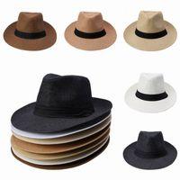 соломенные федоры для мужчин оптовых-Мужчины Женщины соломы широкими полями шляпы Джаз шапки пояса декоративные летние пляж шляпы ВС Fedora шапки DUP * 1