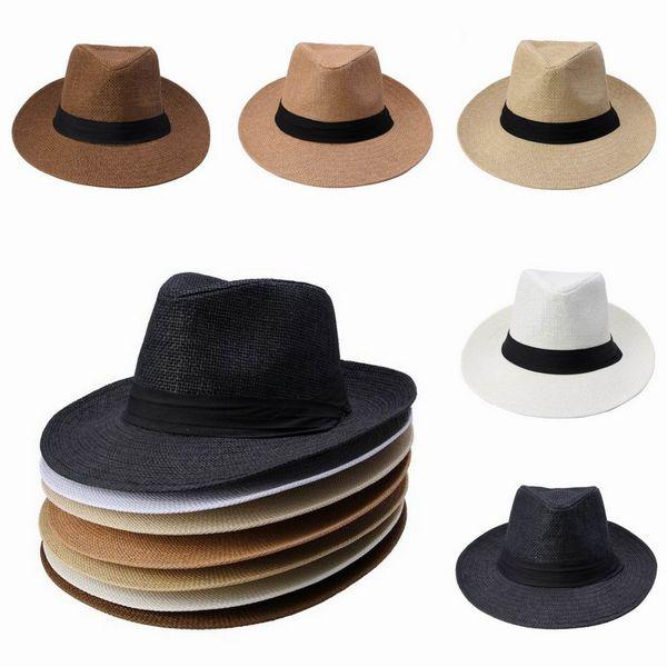 Hombres Mujeres Straw Sombreros de ala ancha Jazz Caps Cinturón decorativo Summer Beach Hats Sun Fedora Caps DUP * 1