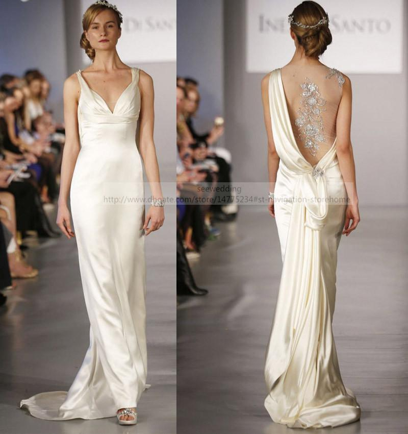 Cowl Neck Wedding Gown: Cheap 2015 Trends Sheath Wedding Dresses Straps V Neck