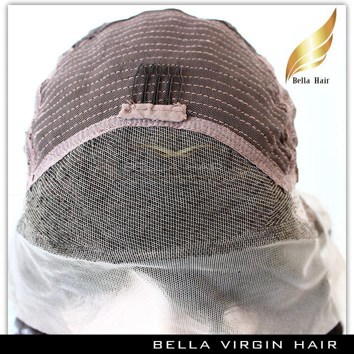 レースフロントウィッグ人間の髪のウィッグストレートブラジルバージンヘアフルレースかつら真ん中の部分自然なカラーベラ髪