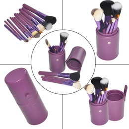 Wholesale Makeup Brush Cup Case - 2pcs Pro Cosmetic Makeup Brush Set Make up Tool + Leather Cup Holder Case kits hot sell free shipping