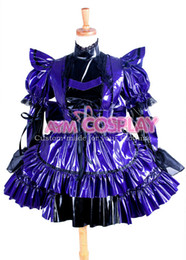 China New Arrival Custom made Sexy Sissy Maid Purple Dress Pvc Lockable Uniform Cosplay Costume Halloween Party Event Coser Cosplayer suppliers