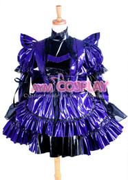 Argentina Nueva llegada por encargo Sexy Sissy Maid vestido púrpura Pvc con cierre uniforme Cosplay fiesta de Halloween Evento Coser Cosplayer Suministro
