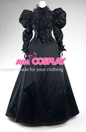Wholesale Xxl Evening Gowns - New Arrival Custom made Victorian Gown Ball Dress Black Lace Gothic Evening Outfit Cosplay Costume Cosplaylover