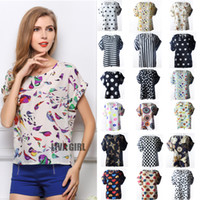 Wholesale Dotted Ladies Chiffon Tops - New Fashion Sexy Women's Chiffon Blouse with Floral Dots Ladies Blouson Tops Loose Batwing Tops 19 Patterns Options S M L XL XXL 08261