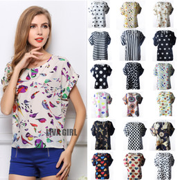 Wholesale Ladies Blouses Wholesalers - New Fashion Sexy Women's Chiffon Blouse with Floral Dots Ladies Blouson Tops Loose Batwing Tops 19 Patterns Options S M L XL XXL 08261