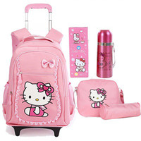 Wholesale Wheels School Bags - Free Shipping Hello Kitty Children School Bags Mochilas Kids Backpacks With Wheel Trolley Luggage For Girls backpack wholesale