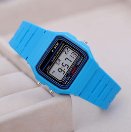 Wholesale Cheap Wholesale Fashion Watches - Fashion Men's Led Watch alarm clock Men women's F-91W watches Cheap F91W fashion thin LED watches Fashion Silicone Watch