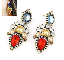 Wholesale vintage rhinestone costume jewelry - 10pairs Wholesale New Fashion Vintage Crystal Drop Earrings for Women Rhinestone Long Statement Earrings Costume Party jewelry