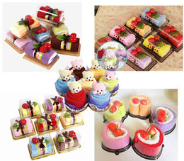 Wholesale Towel Gift Souvenir - Creative Swiss Roll Towel Love Heart Cake Towel 20*20cm Mini Towel Wedding Souvenir Ice Cream Kid Gift Cute Home Ornament, 5 Types Mix Order