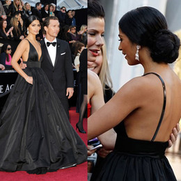 Wholesale Red Carpet Sexy - Sexy Black Evening Gowns Ball Gown Backless Spaghetti V Neck Side Pockets Inspired by Camila Alves Oscar Red Carpet Dresses DHYZ 09