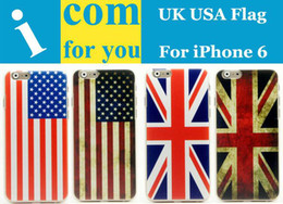 Wholesale Iphone Usa Flag Case - 10pcs lot Union Jack UK England USA United States American Flag Hard case cover for iPhone 6 4.7""