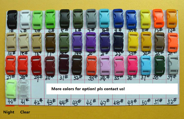 "best selling 3 8"" 10mm Colorful Contoured Side Release Buckles For Paracord Bracelet in stock fast shipment Free shipping"