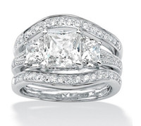 Wholesale White Topaz Stones - choucong Fashion Jewelry Princess Cut Three stone White Topaz 10KT White Gold Filled Birthstone Wedding Women 3 IN 1 Ring Set Gift Size 5-11