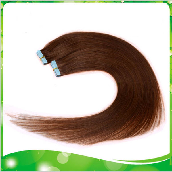 "Wholesale - 100g 40pcs 18"" 20"" 22"" 24"" 6# light brown Glue Skin Weft Tape in Human Hair Extensions INDIAN REMY HAIR"