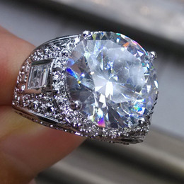 Wholesale Diamond Ring 5ct - 5ct Size 9 10 11jewelry set 18KT white Gold Filled white topaz Gemstones CZ Diamond men Diamondque wedding Band Finger Ring for lover gift