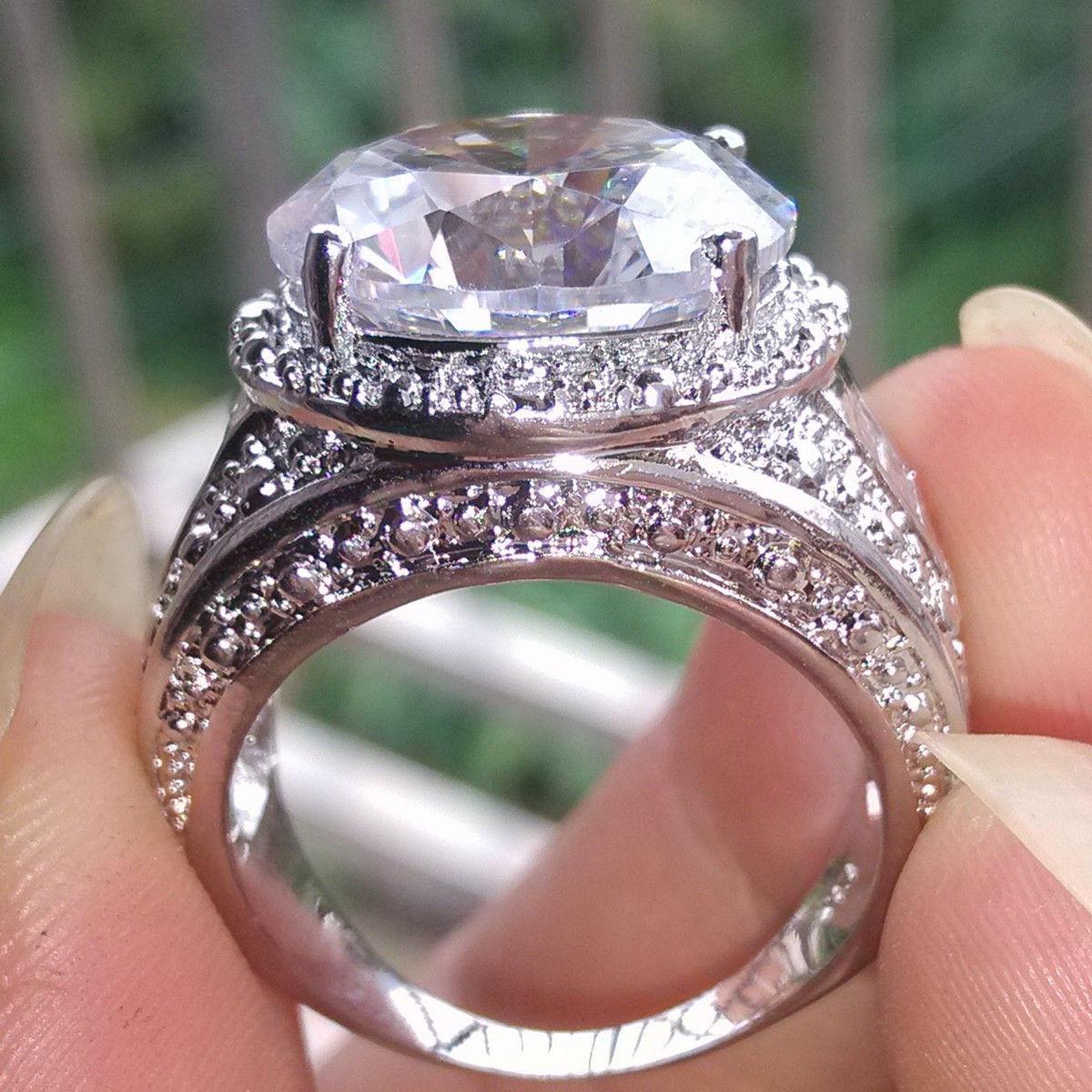 5ct Size 9/10 / 11jewelry set 18KT oro bianco Riempito topazio bianco Pietre preziose CZ Diamond uomo Diamondque Anello barretta matrimonio regalo amante