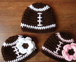Wholesale Football Photo Prop - 10%off Crocheted Baby Triplets Football Hat Set, Boy Girl, Newborn Photo Prop, Baby Shower 2014Hot Selling New High Quality crochet hat 6pcs