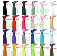 Wholesale Satin Mens Ties - 10 Pcs lot New Mens Skinny Solid Color Plain Satin Tie Necktie silk Tie black and white necktie silk jacquard woven Tie Neck Ties Men