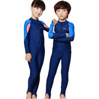 Wholesale New Kid s Lycra Wetsuit Children s Diving Suit Siamese Long Coverall Surf Skydiving Sunscreen Rash guard
