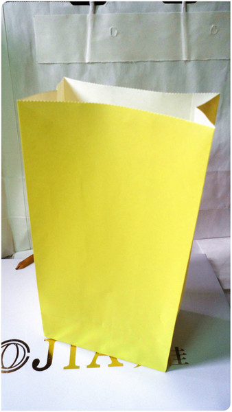 Free shipping Size 23cm * 12cm * 7.5cm new kraft paper yellow colors without handle paper bag food packaging kraft paper bag