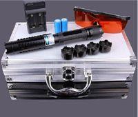 linternas militares de alta potencia al por mayor-Los más poderosos 450nm 200000 de alta potencia LAZER Punteros láser azul militar led linterna +5 tapas + gafas + caja de regalo + cargador Caza
