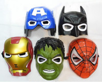 Wholesale Spider Man Mask Wholesale - LED Halloween Cluminous dark mask Iron Man Spider-Man Cartoon mask novelty toy Party birthday theaters children Gift
