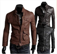 Wholesale Denim Jacket Leather - Winter Jackets For Men Outdoor PU Brown Black Fall Winter Spring long Motorcycle Soft Shell leather sleeve denim Mens Jackets 20%OFF new