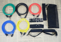 Wholesale-11pcs / set Latex-Widerstand-Bänder Fitness-Übungs-Schlauch Rope Set Yoga ABS-Training Fitness WH29132 freies Verschiffen