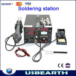 Wholesale Smd Hot Soldering Iron - Multifunction SMD SMT rework station, hot air gun soldering iron DC power supply 3 in 1 853D