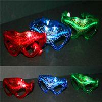 Wholesale party mask led - 3 Flashing LED Spiderman Glasses Light Party Glow Mask Halloween Christmas gift 10pcs lot
