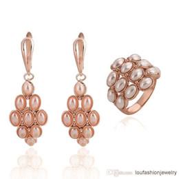 2019 conjuntos de joyas 24k oro de alta calidad. Chapado en oro rosa con perlas 2014 Nueva moda Conjuntos de joyas de boda Pendientes Anillos Para mujeres Conjunto de joyas de dama de honor con anillo y pendiente