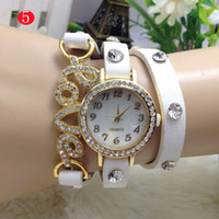 2017 Moda Weave Wrap Around Love Charm Bracelet Lady Women Relógio de pulso com CZ crystal Paved Vintage Leather Belt lot 20pcs