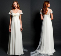 Wholesale Dress Bolero Chiffon - Sheer Lace Bolero Cap Sleeves Wedding Dresses 2015 for Pregnant Women Empire Waist V-neck Illusion Back Elegant Beach Bridal Gowns