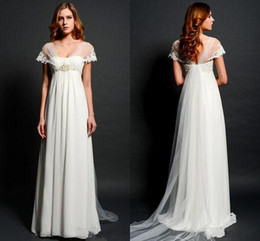 Wholesale Embroidery Dresses For Women - Sheer Lace Bolero Cap Sleeves Wedding Dresses 2015 for Pregnant Women Empire Waist V-neck Illusion Back Elegant Beach Bridal Gowns