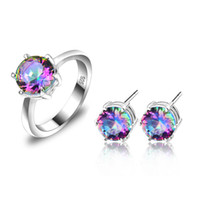 Wholesale Sterling Silver Mystic Topaz Earrings - Mix Style 2pcs Set Wholesale Holiday Jewelry Gift Classic Mystic Topaz Gems 925 Sterling Silver Ring Stud Earrings