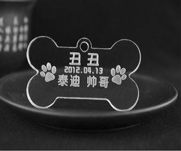 Wholesale Cheapest Pet Id Tags - Wholesale-200pcs lot cheap wholesale acrylic dog tags,bone dog pet tags,pet name tags id,free shipping