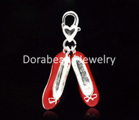 Wholesale Ballet Shoes Bracelet - Wholesale-Free Shipping! Silver Plated Red Enamel Ballet Shoes Clip On Charms. Fits Link Chain Bracelet 38x20mm,5pcs (B15297)