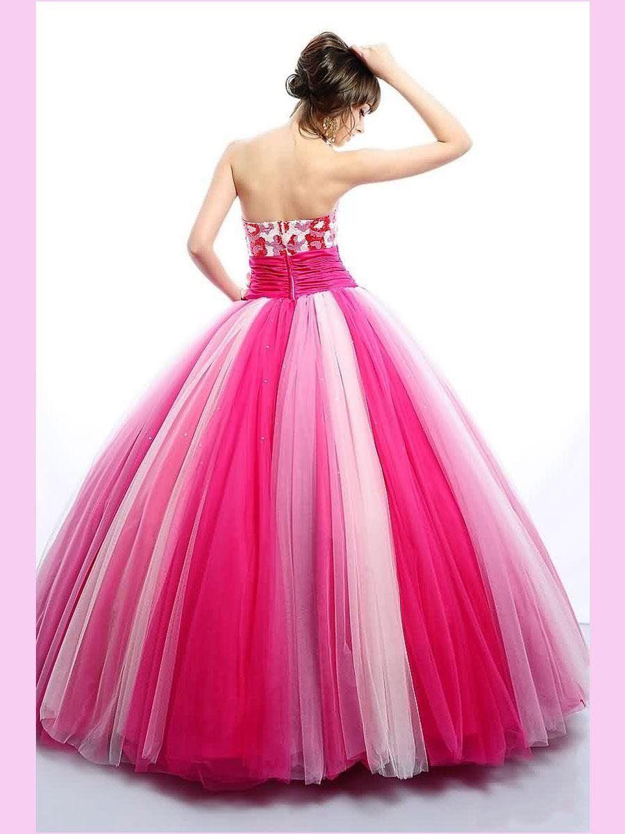 Großhandel Prinzessin Pink Ballkleid Tüll Quinceanera Kleider Sequins  Sweetheart Perlen Ärmellos Zipper Kristall Perlen Prom Kleider WC12 Von