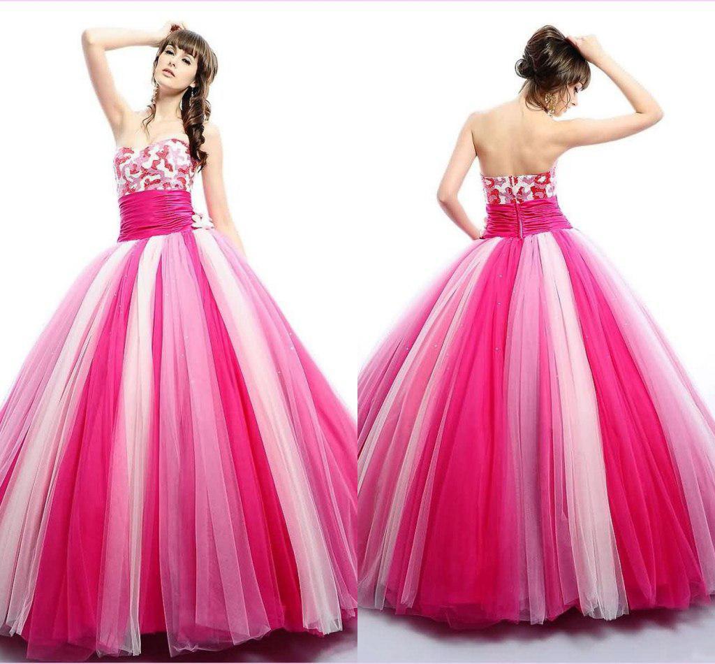 Großhandel Prinzessin Pink Ballkleid Tüll Quinceanera Kleider Sequins  Sweetheart Perlen Ärmellos Zipper Kristall Perlen Prom Kleider WC13 Von