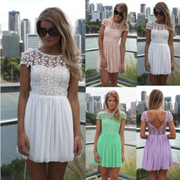 $enCountryForm.capitalKeyWord NZ - High Class Elegant Lace Backless Women Dress 2014 pink white green purple lady short dress cap sleeve women clothing 091301