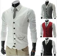 Wholesale Waistcoat Three Button Suit - New Arrival! Men Suit Vest Slim Dress Vests Men's Fitted Leisure Waistcoat Casual Business Jacket Tops Three Buttons top sale free ship