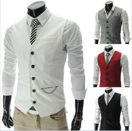 Wholesale Waistcoat Three Button Suit - New Arrival! Men Suit Vest Slim Dress Vests Men's Fitted Leisure Waistcoat Casual Business Jacket Tops Three Buttons top sale free ship