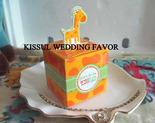 2014Newest Baby Shower favor boxes of Born To Be Wild Jungle-Themed Favor Box Baby birthday gift Animal candy box