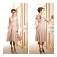 Wholesale Evening Ceremony Dress - 2015 pink chiffonGraceful A-line V-neck Pearl Pink Chiffon Long Sleeve Tea-length Evening Dresses Mother of the Bride Dresses Ceremony Gowns