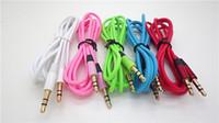 aux kabel freies verschiffen großhandel-1 stücke 3,5mm männlich zu männlich Kostenloser Versand Erweiterung Ersatz Stereo Farbe Audio Kabel für Kopfhörer mit AUX Golden Jack