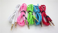 Wholesale Headphone Extension Iphone - 1pcs 3.5mm male to male Free Shipping Extension Replacement Stereo Color Audio Cable for Headphone with AUX Golden Jack